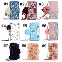 Wholesale Leather Flower Wallet - Luxury Stereo Rose Flower Wallet Case Card slot Leather Phone Cover Colorful Flowers Pattern Cases For iPhone 8 7 6 plus Samsung S8