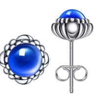 Wholesale Lapis Pearl Jewelry - 925 Sterling Silver Blue Lapis September Birthstone Bloom Stud Earrings For Women Wedding Party Birthday Fashion Earring Jewelry