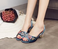 Wholesale Diamond Shoes Flash - Super flash colorful crystal with summer sandals leather diamond and fish mouth shaped diamond shoes with high heels