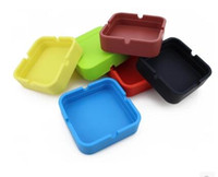 Wholesale Shipping Ashtray - Wholesale--mix colors square circle style Silicone Ashtray for Home novelty Crafts Pocket Ashtrays for Cigarettes cool Gadgets free shipping