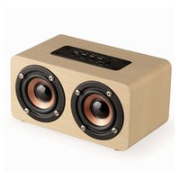 Wholesale Horn Speakers - Fashion Dual-horn Wooden Bluetooth Speaker With Bass Music Sound Intelligent Calls Handsfree TF Card Aux Mode Voice Reminder.
