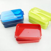 Wholesale Plastic Lunchboxes - CJ007 lunchbox tableware Double plastic bento lunchboxes Double buckle around lunchbox can microwaveoven