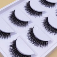 Wholesale Shortest Eyelash - Wholesale Short Paragraph Natural False Eyelashes Mounted Cross Thick False Eyelashes High Quality Makeup Fake Eyelashes
