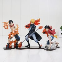 Wholesale Ace Games - 3pcs set One Piece Attack Styling Luffy + Sabo + Ace PVC Action Figures Collectible Model Toys Kids toys