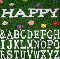 Wholesale Wholesale White Wooden Letters - Home Decor Decoration thick Wood Wooden White Letters Alphabet Wedding Birthday 8cmX1.2cm Wedding Decorations Romantic Home Birthday Party