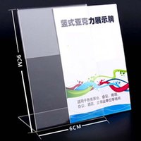 Wholesale Acrylic Price Tags - New 10pcs lot High Quality Clear 6x9cm L Shape Acrylic Table Sign Price Tag Label Display Paper Promotion Card Holder Stand