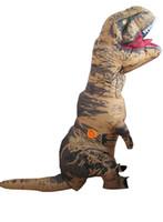 trajes dino venda por atacado-Fantasia mascote gigante inflável T REX dinossauro terno para adulto inflável traje dino para o dia das bruxas
