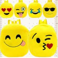 monos de peluche mini al por mayor-11.8inch Mochilas para niños Emoji Expression Book Bags Venta Niños Face Plush Backpack Girl Boy School Shoulder Bag