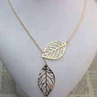 Wholesale Star Necklaces For Women - Star Jewelry LOSS MONEY SALE Fashion Women Double Leaf Necklace Fashion Leaf Pendant Necklaces for women 2015