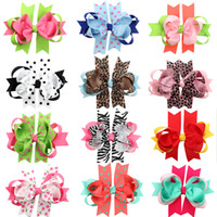 Wholesale Ribbon Leopard Gift - 2016 HOT Christmas Halloween Gift Double Bowknot Leopard grain Hair Clips Handmade Hair Accessories Wholesale Satin 12 Styles Hair Ribbons