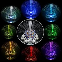 Wholesale Wholesale Crown Decor - Fiber optic LED Night ligtht Colorful Light Flash 8 colors Changing Headgear Butterfly Crown Holiday Glow Toy Dancing Party Decor Lighting