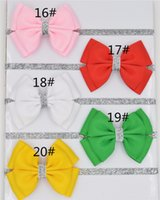 Wholesale Diy Flower Hair Band - 60pcs 196 color new Baby hair bow flower Headband Silver ribbon Hair Band Handmade DIY hair accessories for children newborn toddler