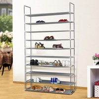 Wholesale Shoe Save Storage - 50 Pair 10 Tier Space Saving Storage Organizer Free Standing Shoe Tower Rack