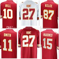 Wholesale 87 Polyester - Stitched men's 27# Kareem Hunt 11 Alex Smith jerseys 15 Patrick Mahomes II 10 Tyreek Hill 87 Travis Kelce Embroidery Game Limited jersey