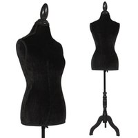 Wholesale Display Forms - Black Female Mannequin Torso Dress Form Display Black Tripod Stand