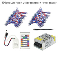lumières de couleur de noël achat en gros de-Xmas Lights 12mm WS2811 LED Pixel Light DC 5V Module Imperméable Lampara Dream Color + 24 Touches Télécommande + Alimentation Adaptateur CE