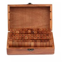 Wholesale wood stamp sets resale online - DHL set set Number and Letter Wood stamp Set Wooden Box Multi purpose stamp DIY funny work