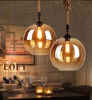 contador de lámpara de vidrio al por mayor-Loft Hemp Rope Vintage LED Lámpara colgante de vidrio Lámpara colgante de vidrio para barra de bar Restaurante Café / Ropa Casa