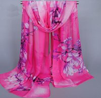 Wholesale Chiffon Flower Buy - New Style Western Women Chiffon Scarves Magnolia Flower Pattern Summer Outdoor Scarf Speical Price Buy 20 PCS Get 1 PC FREE