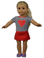 """Wholesale Cotton Skirt Clothing - 18"""" Black Striped Red Heart Pattern Shirt and Red Skirt American Doll Clothes for American Girl Dolls and Alike Dolls"""