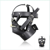 Wholesale Gay Dress - BDSM Bondage Sex Toys New Black Leather SM Slave Sex Toys Head Mask for Male Adult Sex Product Cosplay Dress Men Gays Fetish Head Hoods