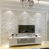 papel de parede glitter 3d venda por atacado-Venda por atacado - Genuine papel de parede do brilho do victorian 3D fundo de prata papel de parede rolo de papel decoração home da parede do PVC papel para sala de estar quarto