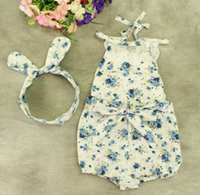 Wholesale Girls Onesie Pajamas - 2016 baby girl toddler Summer clothes 2piece set outfits lace floral romper onesie bloomers diaper covers playsuits pajamas + Bow headband