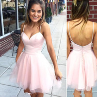 Wholesale Simple Black Cocktail Dress Designs - 2017 New Design Pink Cheap Short Homecoming Dresses Sexy Spaghetti Straps Backless A Line Mini Cocktail Prom Graduation Gowns Simple Dress