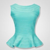 Wholesale Peplum Dress Xs - Brand new top quality 2016 peplum hemline essentials ruffles long style summer bandage TOP lady's vest gilet camiseta 7 colors