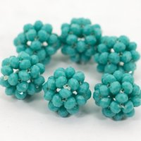 Wholesale Turquoise Beads Wholesale Prices - 216 Fashion Turquoise Blue Crystal Beaded Balls Wholesale 30pcs lot African Beads Jewelry Accessories Factory Price