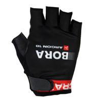 guantes de medio dedo rojos al por mayor-Venta caliente 2015 BORA ARGON 18 PRO EQUIPO NEGRO ROJO Ciclismo Guantes de bicicleta Gel de bicicleta Deportes a prueba de golpes Medio dedo Guante