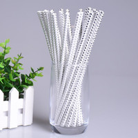Wholesale Silver Paper Straws - 200pcs lot Silver Paper Straws Birthday Wedding Decorative Event Party Supplies Environmental Creative Dot Stripe Drinking Straws