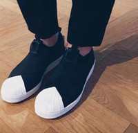 Wholesale Superstar Factory - Factory Price Men Women Shell Toe Black White Low Sneakers Superstar Slip On S81338 Cross Bandage Unisex Ulzzang Casual Running Shoes