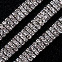 Wholesale Rhinestone Crystal Cake Banding Wholesale - Wholesale 3 Rows Crystal 3MM Rhinestone Wedding Decoration Diy Trim Ribbon Deco Cake Decoration Band