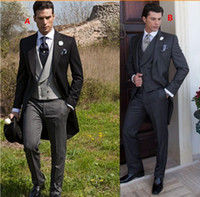 Wholesale Tailcoat Tux - 2015 Double Breasted Groom Tuxedos Jacket+Pant+Vest Wedding Suit For Men Mens Fashion Tux Tuxedos After Six Groom Suits