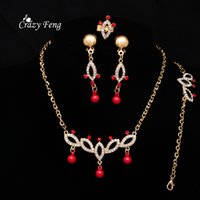 Atacado Bridal Wedding African Jewelry Sets Gold Color Pendente Declaração Colar Brincos Bracelet Ring Set Charms Jóias