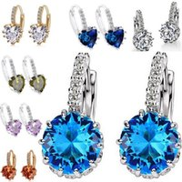 Wholesale Blue Danube - Fashion stud earrings Zircon ear clip multicolor The blue Danube earrings mixed batch of foreign trade straight earrings free delivery