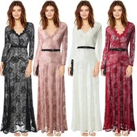 Wholesale Single Ladies Gowns - European and American V-neck gauze lace long-sleeved dress foreign trade dress length skirt original single ladies