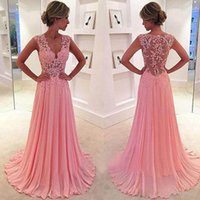Wholesale See Through Chiffon Tops - 2016 Illusion Bodice Prom Dresses Long V Neck Lace Appliques Top Pink Chiffon Evening Party Wear Cheap High Quality Formal Gowns See Through