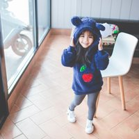 Wholesale Girls Cherry Top - Everweekend Kids Girls Cute Rabbit Ears Baby Hooded Sweater Tops Fashion Western Print Cherry Girls Tops Clothing