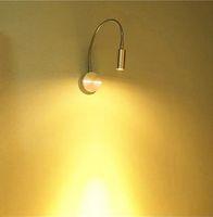 lâmpadas flexíveis de parede venda por atacado-AC85-265v 3 W conduziu a luz da parede mental flexível pescoço spotlight montado na parede branco ou branco quente com interruptor on / off lâmpada de leitura de cabeceira