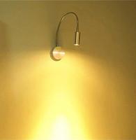 lámpara de lectura led de montaje en pared al por mayor-AC85-265v 3W led aplique de pared mental cuello flexible proyector montado en la pared blanco o blanco cálido con interruptor encendido / apagado lámpara de lectura