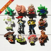 Wholesale Wholesale Croc Shoes - Wholesale-100pcs Toy Story Cartoon PVC Shoe Charms Fit Bands Bracelets Croc JIBZ,Lovely Shoe Buckles Accessories Cosplay Party Gifts