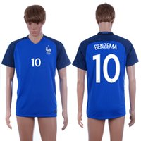 2016 Maillots Euro Cup # 10 BENZEMA Accueil Blue Soccer Jersey Top Quality Football Shirts Discount Cheap Mens Football Jerseys personnalisée Nom Nombre