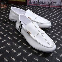 Wholesale Loafers Elastic - Italian Men Loafers Leather Mens Dress Shoes luxury Brand Flats Shoes Driving Black Bule Boat Shoes Men zapatos hombre mocassin