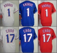 Wholesale Andrus Jersey - Wholesale 1 Elvis Andrus Jersey Texas 17 Shin-Soo Choo Baseball Jerseys Flexbase Cool Base Stitched Team Color Red White Blue