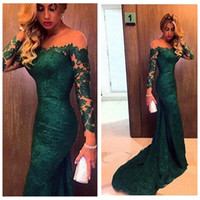 Wholesale Ladies Victorian Dresses - Emerald Green Prom Dresses Lace With Long Sleeves Trumpet Style 2018 Special Occasion Party Gowns Victorian Ladies Eevening Party Gowns