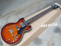 doble bajo al por mayor-Custom 4 Strings ES Jazz BASS Tobacco Sunburst Bajo eléctrico Llama Maple Top Semi Hollow Body Doble agujero F Diapasón de palisandro
