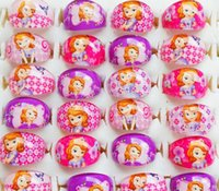 Wholesale First Engagement - Brand New 100PCs princess sofia the first Kids Cartoon resin children favor party jewelry rings wholesale job lots