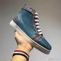 Wholesale Diamond Shoes Flash - Top version High Christian Multicolored GlitterCL Red Bottoms Loafers Red Soles Fi CL Flash powder ice blue diamond Casual shoes